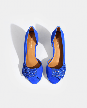 ESCARPIN BOUT OUVERT DAIM BLEU ÉLECTRIQUE CUIR NOEUD GLITTER GORDANA OPEN TOE PUMP ELECTRIC BLUE SUEDE LEATHER BOW BLUE GLITTER