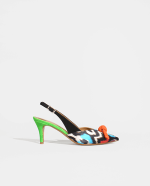 ESCARPIN ARRIÈRE OUVERT SLINGBACK PUMP MULTICOLORE MULTICOLOR GORDANA FLUO CUIR DAIM SATIN SUEDE LEATHER SILK SATIN