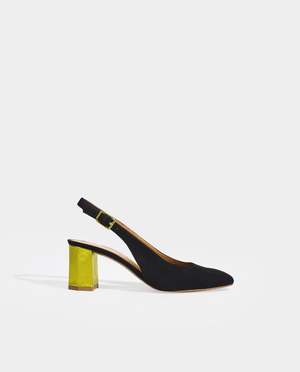 ESCARPIN A BRIDE SLINGBACK DAIM NOIR TALON ORIGINAL JAUNE OR GORDANA SLINGBACK PUMP BLACK SUEDE ORIGINAL YELLOW GOLD HEEL