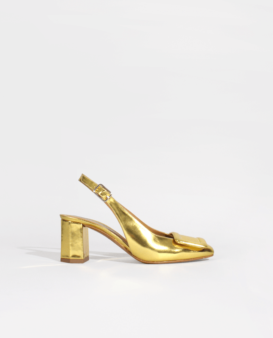mariage mariée bride Escarpin à bride cuir miroir or bout carré gordana Sling back pump gold mirror effect leather square toe wedding shoes