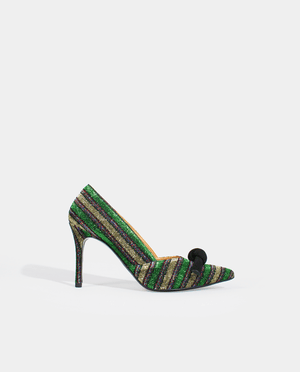ESCARPIN TALON HAUT RAYÉ VERT OR BOUT POINTU GORDANA GABY GREEN STRIPED LUREX HIGH HEEL PUMP POINTED TOE