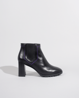 BOTTINE CHELSEA BOOT CUIR NOIR VIOLET BLACK LEATHER TALON GORDANA