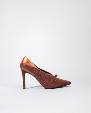 ESCARPIN MAYA EN LUREX ORANGE BOUT POINTU