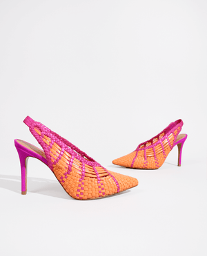 ESCARPIN SLING BACK TRESSÉ MARGARITA ORANGE ET ROSE