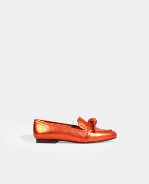 MOCASSIN KRIS EN CUIR METALLISÉ ORANGE