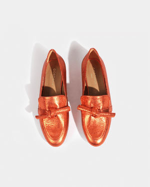 MOCASIN KRIS EN CUIR METALLISÉ ORANGE
