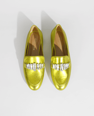MOCASSIN  ÉTÉ JAUNE OR CUIR MÉTALISÉ BIJOUX STRASS GORDANA YELLOW GOLD METALIZED LEATHER JEWELS