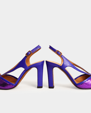 SANDALE A TALON VIOLET CUIR MÉTALLISÉ GORDANA HEEL SANDAL PURPLE METALIC LEATHER