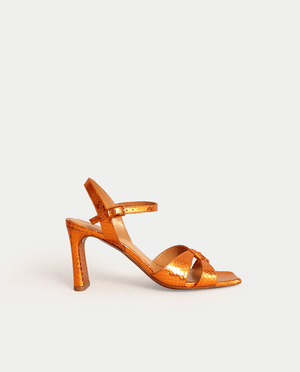 SANDALE A TALON ORANGE CUIR MÉTALLISÉ BOUT CARRE GORDANA HEEL SANDAL ORANGE METALIC LEATHER
