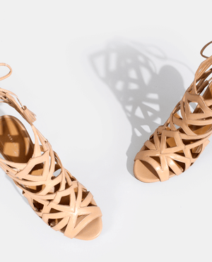 SANDALES À TALON DALIDA CUIR LISSE NUDE DÉCOUPES GÉOMÉTRIQUES CAGE GORDANA HIGH HEEL SANDALE GEOMETRIC CUT OUTS NUDE SMOOTH LEATHER
