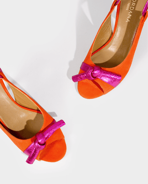 SANDALES À TALON DAIM ORANGE ET FUCHSIA NOEUD VINTAGE GORDANA FUSCHIA ORANGE SUEDE HEEL SANDALS
