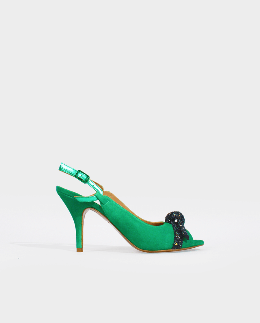 SANDALES À TALON DAIM VERT NOEUD GLITTER NOIR GORDANA GREEN SUEDE LEATHER WOMAN SANDAL BLACK GLITTER BOW
