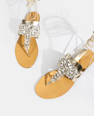 SANDALE PLATE ENTRE-DOIGTS STRASS BIJOUS SWAROVSKY CUIR MIROIR PLATINE OR GORDANA FLAT SANDALS STRASS JEWELS PLATINUM GOLD MIRROR LEATHER