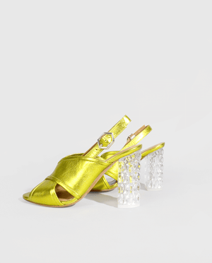 SANDALE A TALON CUIR MÉTALISÉ JAUNE TALON PLEXIGLAS ORIGINAL TRANSPARENT GORDANA HEEL SANDAL YELLOW METALIC LEATHER TRANSPARENT PLEXIGLAS