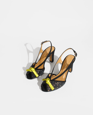 SANDALE A TALON DAIM NOIR GLITTER CUIR MÉTALLISÉ JAUNE GORDANA BLACK SUEDE LEATHER BLACK GLITTER YELLOW METALIZED LEATHER SANDAL