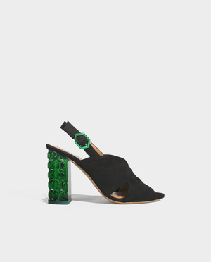 SANDALE A TALON DAIM NOIR TALON ORIGINAL PLEXI TRANSPARENT VERT GORDANA HEEL SANDAL BLACK SUEDE LEATHER GREEN TRANSPARENT PLEXIGLAS