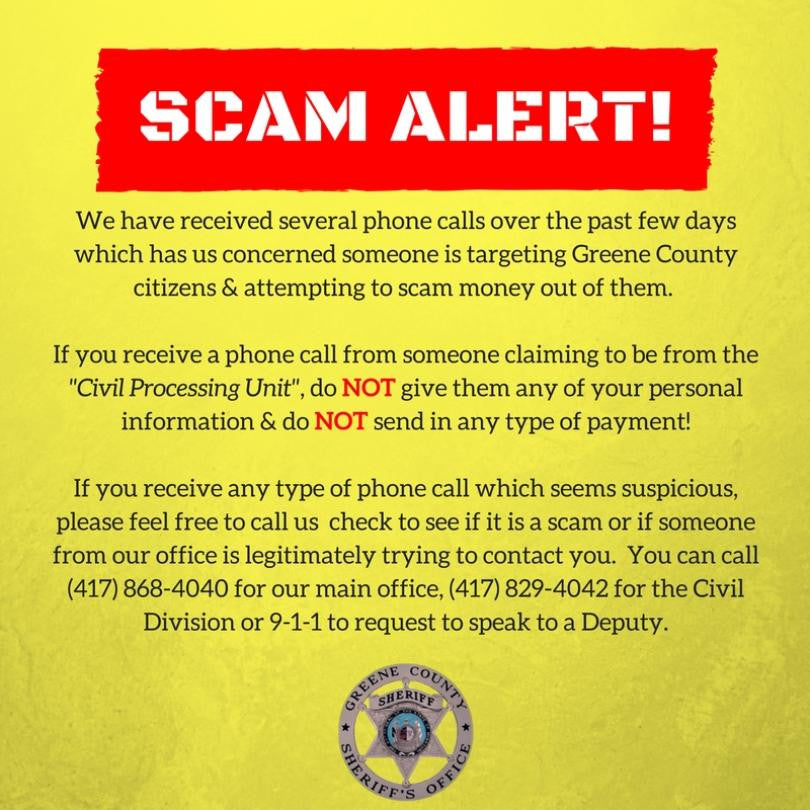 PHONE SCAM ALERT-MISSOURI RESIDENTS