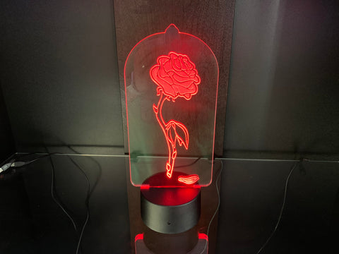 Beauty & the Beast Rose Etched LED Display