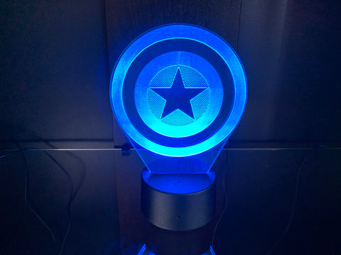 Captain America Shield Etched LED Display