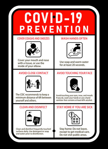 "12"" x 18"" COVID-19 Prevention Sign"