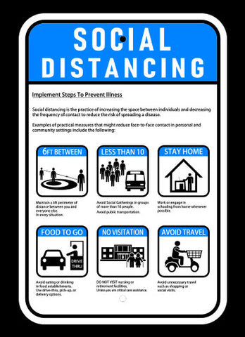 "12"" x 18"" Social Distancing Vertical Sign"