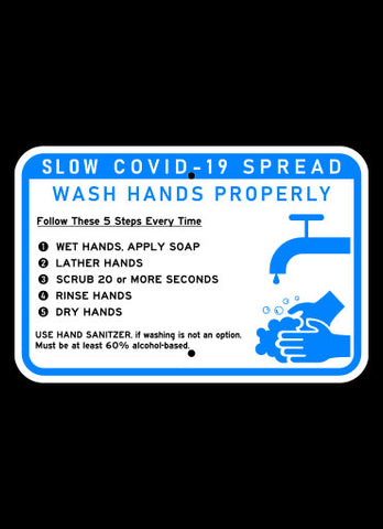 "18"" x 12"" COVID-19 Hand Washing Horizontal Sign"