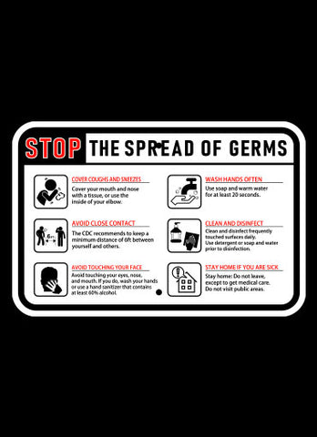 "18"" x 12"" Stop the Spread of Germs Horizontal Sign"