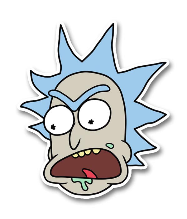 Rick morty angry rick head sticker