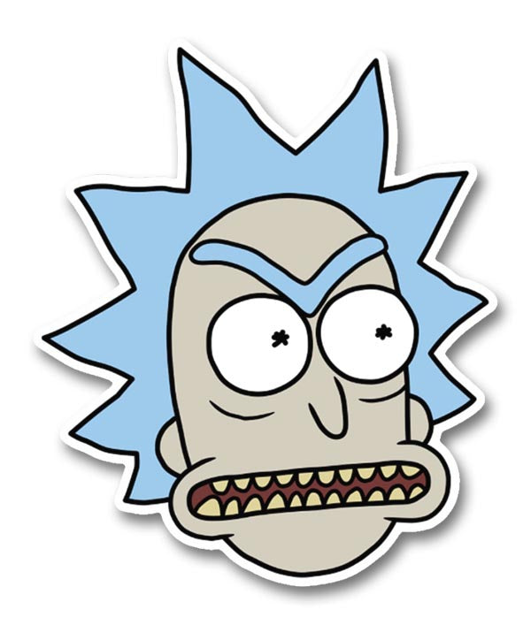 Rick morty angry rick with teeth head sticker
