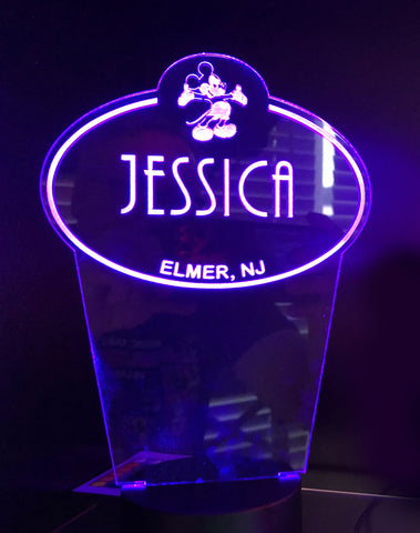 Disney Name Tag Etched LED Display