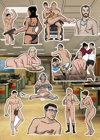 Archer, Get Naked Sticker Pack