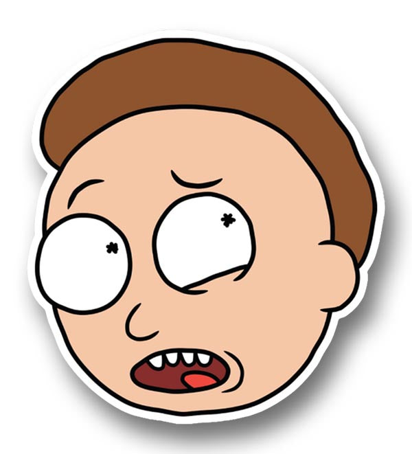 Rick and morty scared morty head sticker