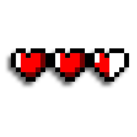 8 bit hearts - Sticker