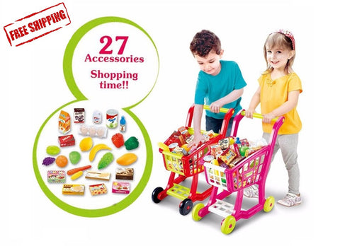 Big simulation shopping cart 27pcs/set fruit vegetable play house toys for kids