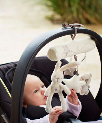 Toy Baby Stroller Rabbit Music Hanging Bed Safety Seat Plush Hand Bell Multifunctional