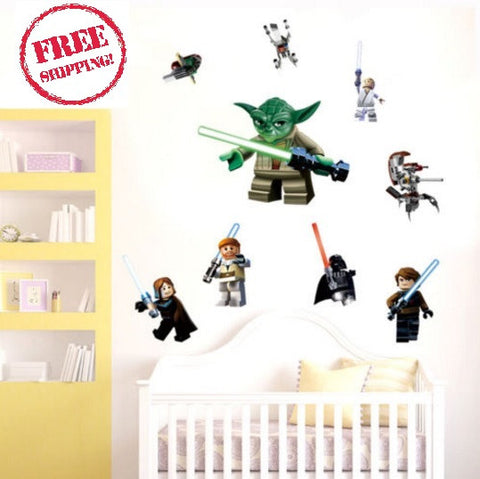 YODA Star War 9 Characters WALL STICKER Decal Removable Kids Room Decor Art