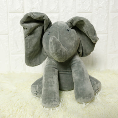 11 Peek A Boo Musical Elephant Plush Pink And Gray Plushie
