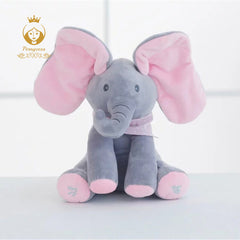 "11"" Peek A Boo Musical Elephant Plush Pink and Gray - Plushie Paradise - Plush"