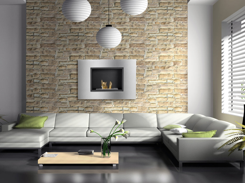 Ethanol Fireplace Design Ideas: Rustic Stone
