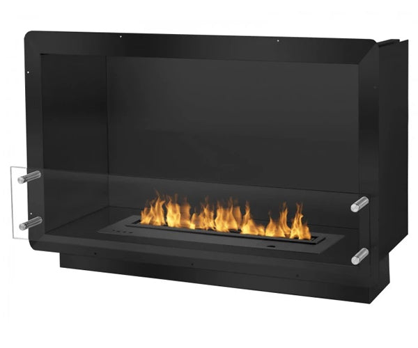 "Ignis 39.5"" Wide One-Sided Ethanol Burning Smart Firebox in Black"