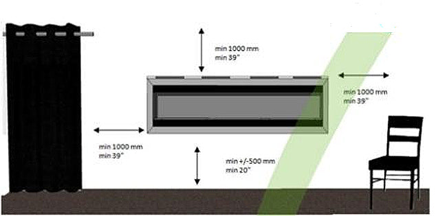Recessing Ethanol Fireplace - Wall Opening