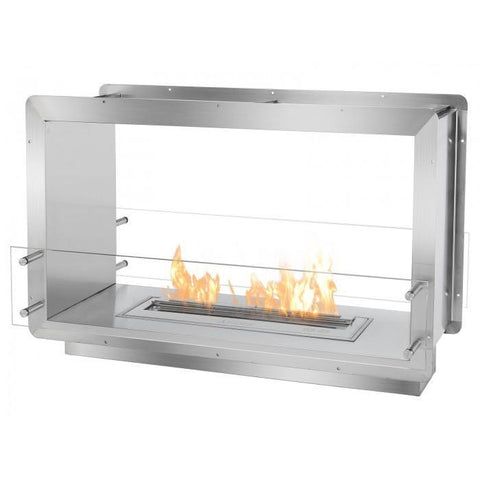 "Ignis 39.5"" Wide Double-Sided Ethanol Burning Firebox - Ethanol Fireplace Pros"