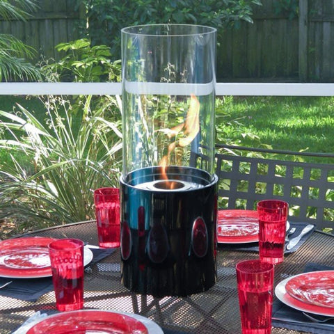Nu-Flame Doppio Noir Tabletop Glass Cylinder Fireplace - Ethanol Fireplace Pros