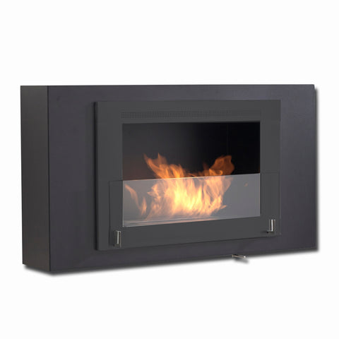 Eco-Feu Brooklyn Biofuel Fireplace in Matte Black on Matte Black - Ethanol Fireplace Pros