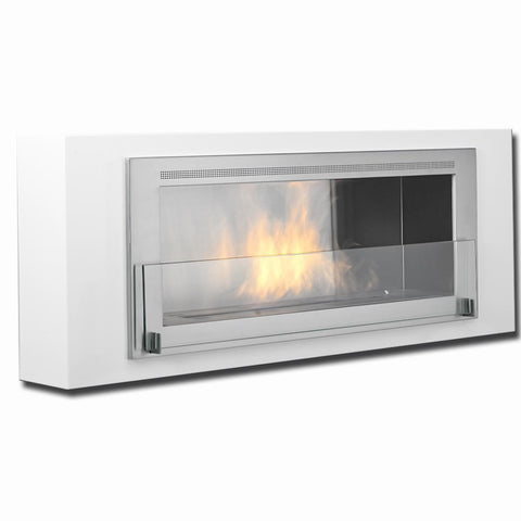 Eco-Feu Santa Lucia Wall Mount Ethanol Fireplace - Gloss White - Ethanol Fireplace Pros
