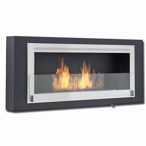 Eco-Feu Santa Lucia Wall Mount Ethanol Fireplace - Matte Black and Stainless Steel - Ethanol Fireplace Pros