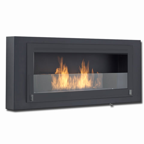 Eco-Feu Santa Lucia Wall Mount Ethanol Fireplace in Matte Black frame with Matte Black molding and Matte Black interior - Ethanol Fireplace Pros