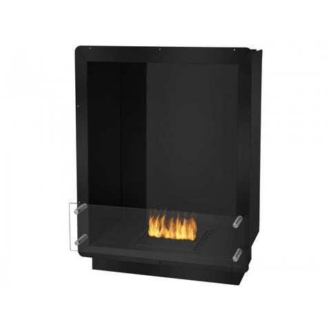 "Ignis 28"" Wide One-Sided Ethanol Burning Firebox in Black - Ethanol Fireplace Pros"