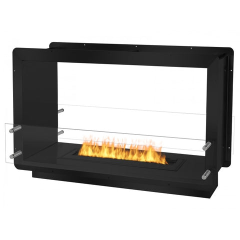 "Ignis 39.5"" Wide Double-Sided Ethanol Burning Firebox in Black - Ethanol Fireplace Pros"