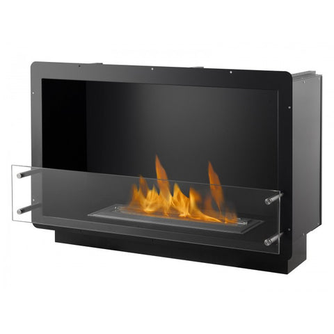 "Ignis 39.5"" Wide One-Sided Ethanol Burning Firebox in Black - Ethanol Fireplace Pros"
